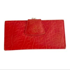 Vtg Renwick Ranch Steer Leather Wallet Red